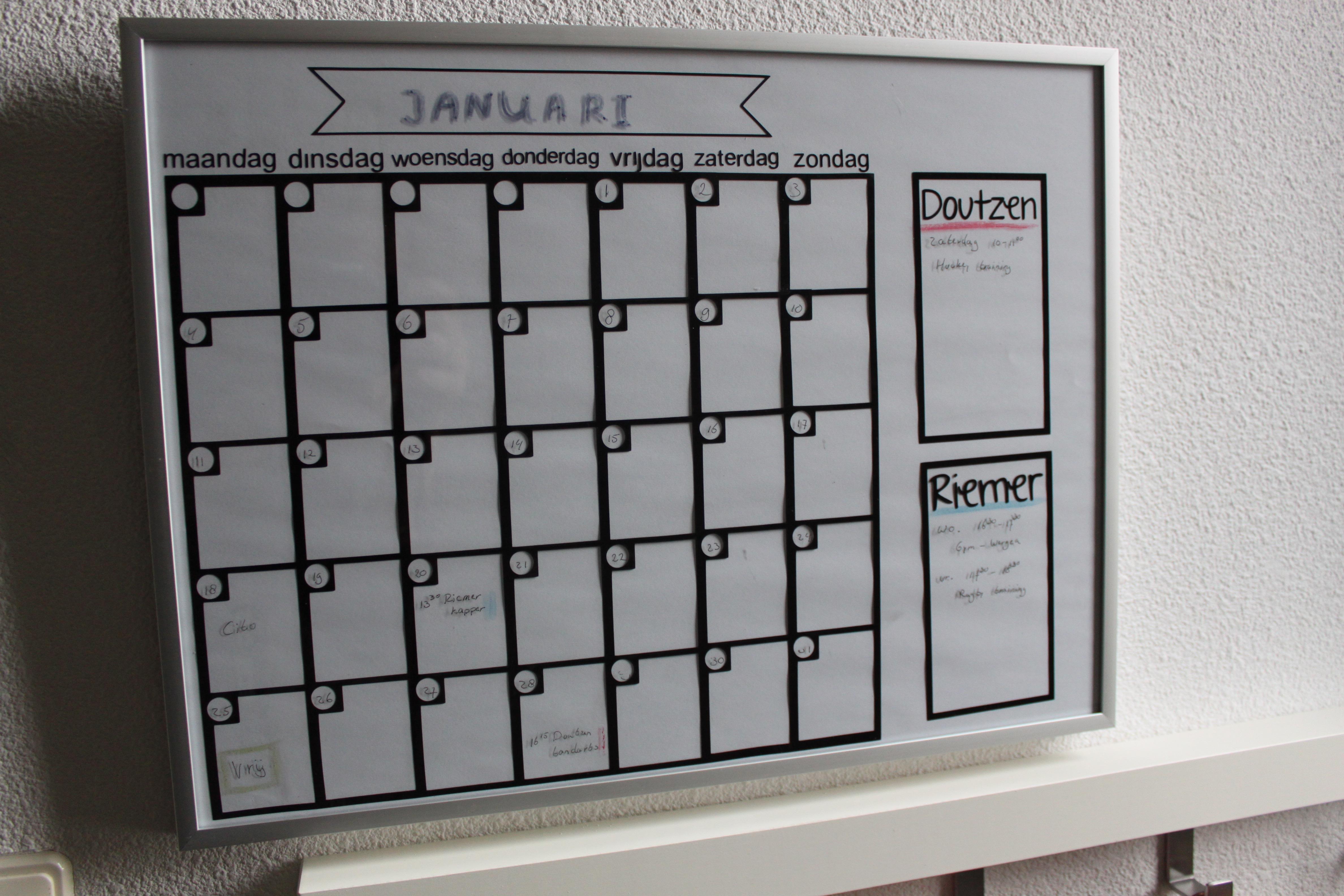 planbord   of agenda die je maandelijks invult  u2013 creatiefduo